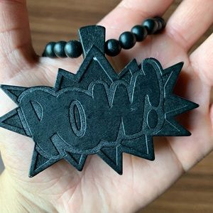 "Other - Wood Black ""POW!"" Necklace"